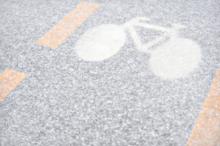 City bicycle lane covered with fresh snow photo