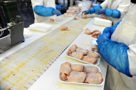 Food industry detail with poultry meat processing Stok Fotoğraf
