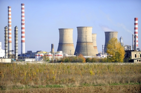 carbondioxide: Industrial view with a petrochemical plant and its cooling towers