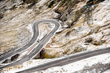 Transfagarasan mountain road in winter photo
