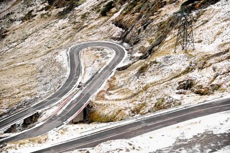 transfagarasan: Transfagarasan mountain road in winter