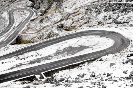 Winter scene with Transfagarasan mountain road photo