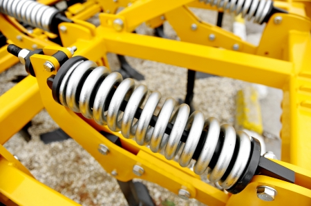 Industrial springs are seen at a agricultural fair Stok Fotoğraf