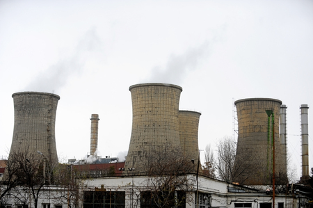 cylindrical: Thermoelectric plant with smoking cooling towers