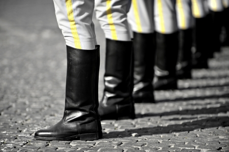 Soldiers boots in rest position during a military parade Stockfoto