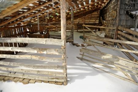 sheepfold: Abandoned sheepfold in winter season Stock Photo