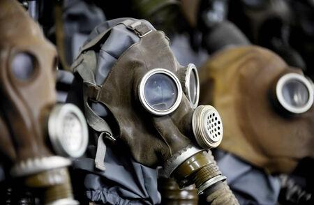 mundo contaminado: Máscaras de gas viejas de la segunda guerra mundial