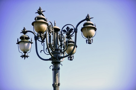 outdoor lighting: Outdoor public lighting pole with blue sky on background Stock Photo