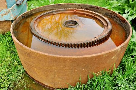 sprocket: Detail with big rusty industrial sprocket wheel Stock Photo