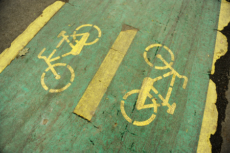 deteriorated: Detail with a deteriorated bicycle lane Stock Photo