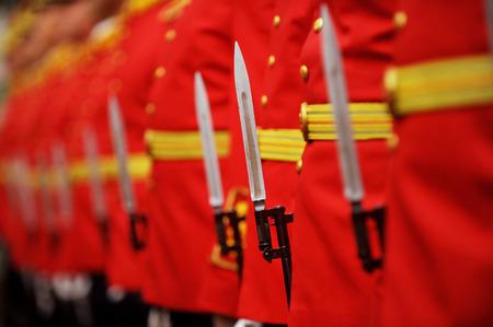 baionetta: Dettaglio con la baionetta di fucile durante una parata militare Archivio Fotografico