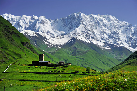 Summer landscape with Caucasus Shkhara mountain seen from Ushguli village in the upper Svaneti region, Georgia