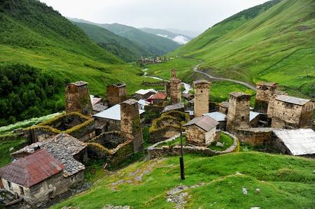 ushguli: Ancient svan towers in Ushguli village in the upper Svaneti region in Georgia Editorial