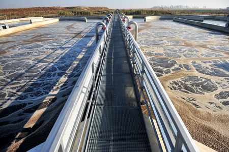water purification plant: Industrial scene with a modern waste water treatment plant