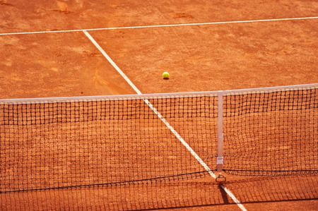tennis clay: Sports detail with an empty tennis clay court Stock Photo