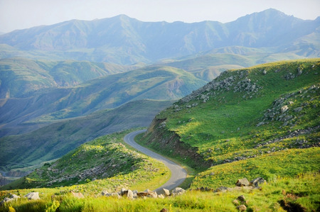 the ancient pass: Selim mountain pass in Armenia, part of the ancient Silk Road Stock Photo