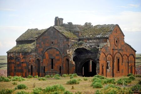 Ancient armenian church on the ruined medieval armenian site of Ani. Between 961 and 1045 Ani was the capital of the medieval Armenian Kingdom. Stock Photo