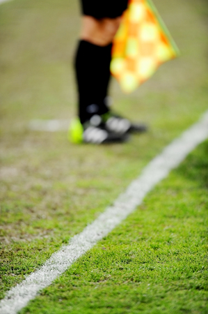 sideline: Soccer field detail with assistant referee on the sideline in background