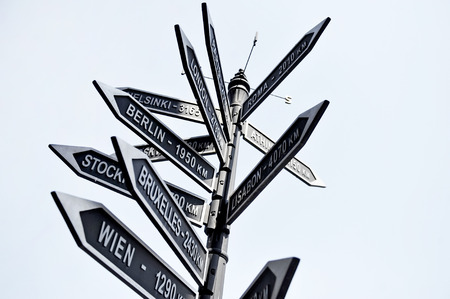 europe travel: Street signpost showing distance to Europe capital cities