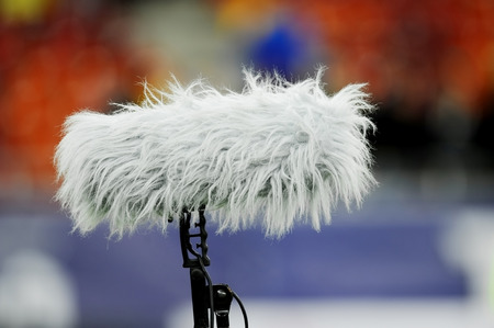 furry: Big and furry professional sport microphone