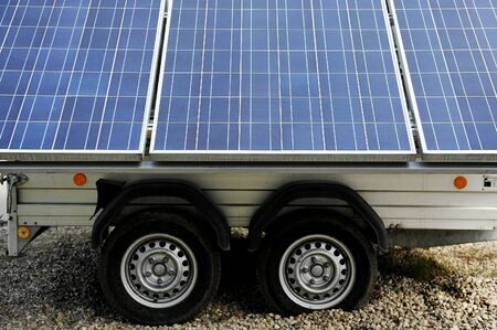 panel van: Detail shot with solar panels attached to a trailer Stock Photo