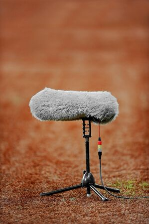 furry: Big and furry sport microphone on a soccer field