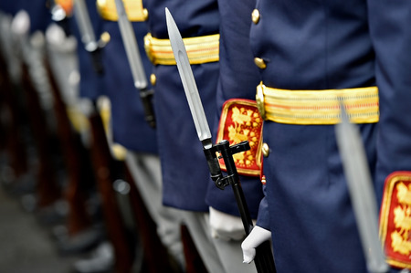 hand position: Detail with the hand of a soldier on a bayonet rifle in rest position during a military parade