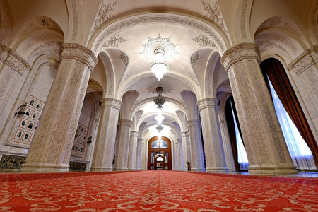 interior shot: BUCHAREST, ROMANIA - OCTOBER 22: Interior shot with the Palace of Parliament on October 22, 2015 in Bucharest. The Peoples Palace was built by communist dictator Nicolae Ceausescu during the 1980s.
