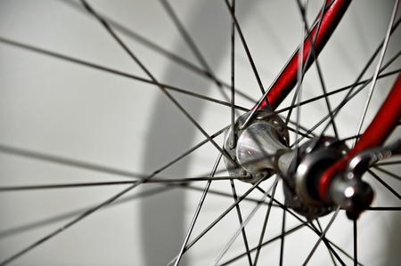 spoke: Closeup with a vintage bicycle wheel hub