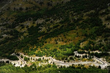 winding road: Winding mountain asphalt road in Theth region, northern Albania