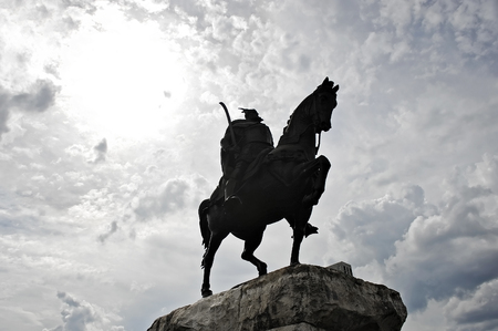 national hero: Statue of albanian national hero Skanderbeg, alsi known as George Castriot, is seen during daytime in Skanderbeg square Stock Photo