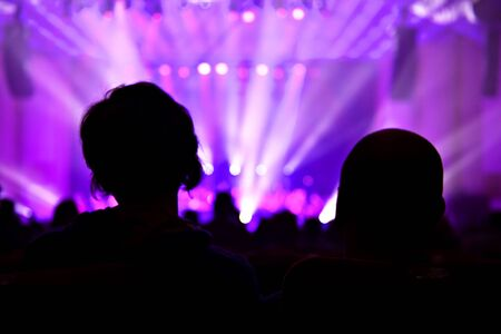 light show: Unrecognizable people watching a beautiful laser show with multicolored lights Stock Photo