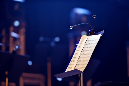 Music note stand with led lights during a concert