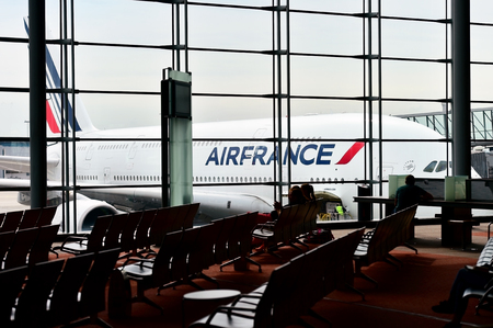 charles de gaulle: PARIS, FRANCE - JUNE 11: Huge A380 Airbus airplane is seen on Charles de Gaulle International Airport on June 11, 2016 in Paris. Air France announced a pilot strike between 11 and 14 of June. Editorial
