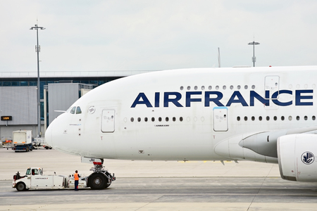 PARIS, FRANCE - JUNE 11: Huge A380 Airbus airplane is seen on Charles de Gaulle International Airport on June 11, 2016 in Paris. Air France announced a pilot strike between 11 and 14 of June. Editoriali