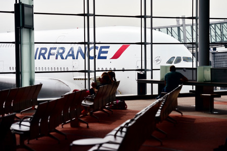 PARIS, FRANCE - JUNE 11: Huge A380 Airbus airplane is seen on Charles de Gaulle International Airport on June 11, 2016 in Paris. Air France announced a pilot strike between 11 and 14 of June. Redactioneel