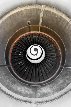 aeroengine: Detail with big propeller inside airplane engine housing Stock Photo