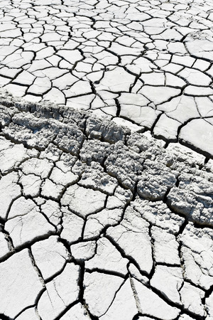 cracked earth: Landscape with cracked earth near mud volcanoes also known as mud domes
