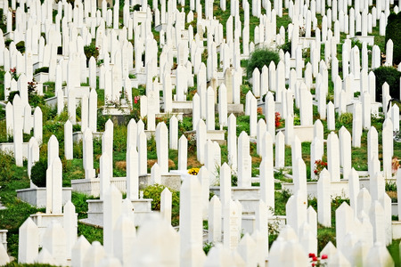 hercegovina: Muslim graves in the cemetery dedicated to the victims of the Siege of Sarajevo
