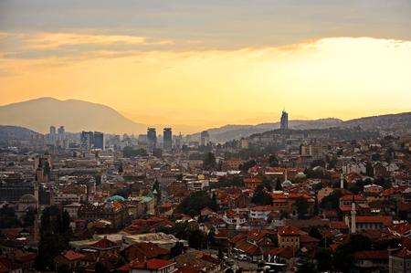 sarajevo: Sarajevo city panoramic shot from a hill at sunset