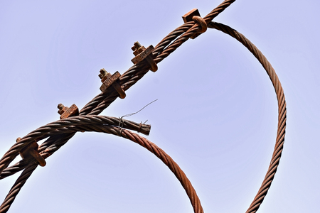 Color shot of a rusty industrial cable
