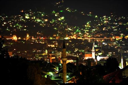 sarajevo: Sarajevo city panoramic shot from a hill at night Stock Photo