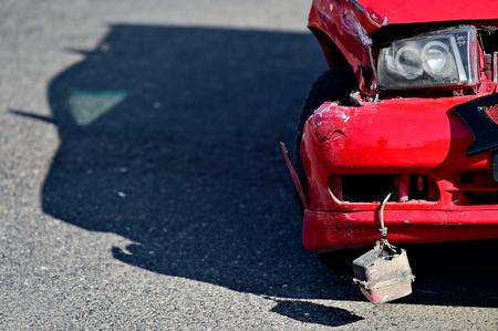 Detail with damage automobile after a car crash