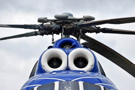 rotor: Detail with helicopter fuselage and rotor blade system