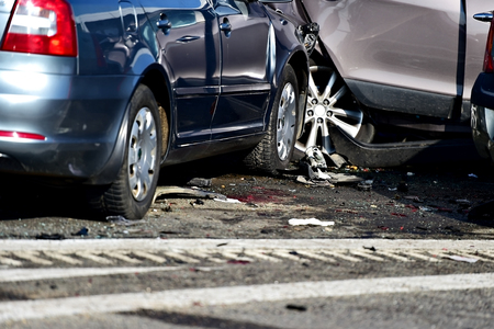 Detail with damage automobile after a car crash accident Stock Photo