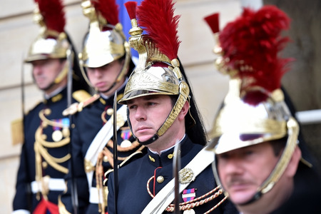 PARIS, FRANCE - JUNE 10: Hotel Matignon Republican Guards of honor during a welcome ceremony on JUNE 10, 2016 in Paris. Matignon is the official residence of the Prime Minister of France.