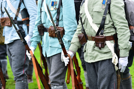 world war one: Historical military reenactment with soldier uniforms from World War One