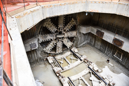 Tunnel boring machine in action during subway construction Banco de Imagens - 89463123
