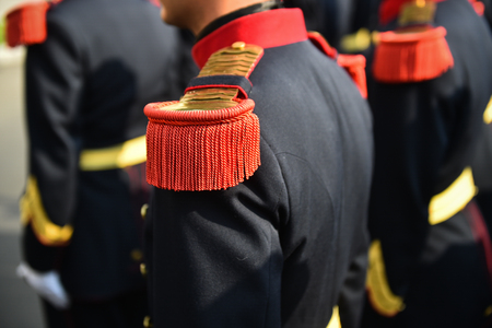 Soldiers from a national guard of honor during a military ceremony Foto de archivo