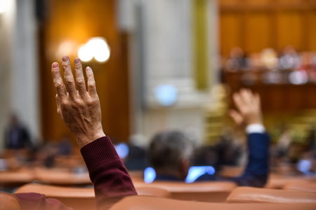 Hand of a man raised in the air during a voting procedure